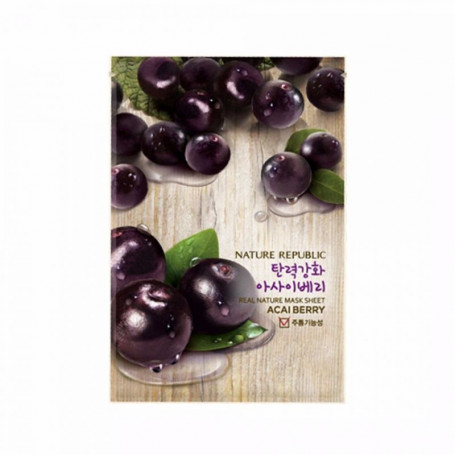 Тканевая маска для лица с экстрактом ягод асаи Nature Republic Real Nature Mask Sheet Acai Berry - фото 1