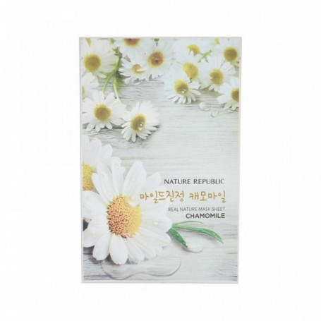 Тканевая маска для лица с экстрактом ромашки Nature Republic Real Nature Mask Sheet Chamomile - фото 1