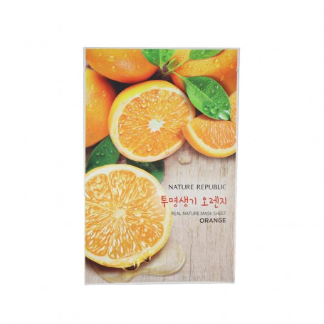 Тканевая маска для лица с экстрактом апельсина Nature Republic Real Nature Mask Sheet Orange - фото 1