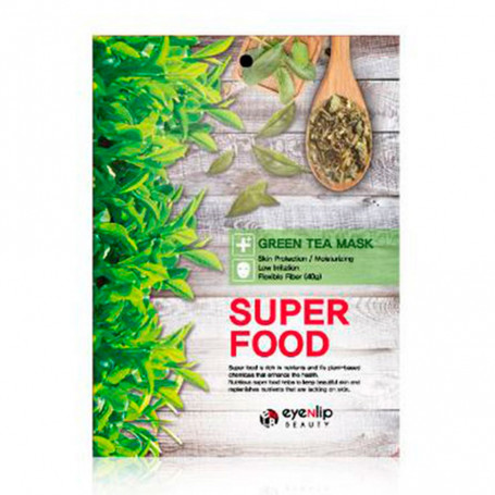 Тканевая маска для лица с экстрактом зеленого чая Eyenlip Super Food Green Tea Mask - фото 1